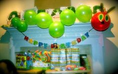 HUNGRY CATERPILLAR display for classroom maybe the hungry caterpillar, birthday parties, party themes, hungry caterpillar party, first birthdays, balloon, 1st birthdays, parti idea, eric carle