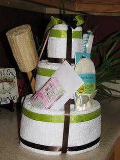 Wedding/Bridal Shower Towel Cake....genius and so useful!
