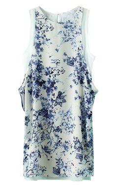 White Round Neck Sleeveless Floral Chiffon Dress US$28.00