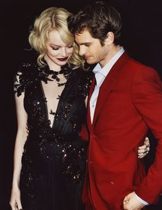 Emma Stone and Andrew Garfield. They are adorable together... If only I was a few years older and a famous actress...