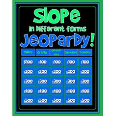 Used as a whole-class game, this colorful Slope Jeopardy is completely interactive with sounds, animations and hyperlinks to and from from the main board. AND THE CATEGORIES ARE! Tables, Graphs, Ordered Pairs, Equations, and Triangles.