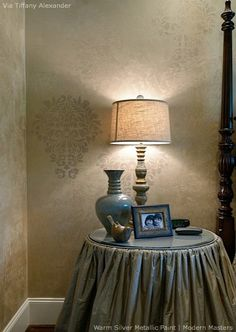 Modern Masters Metallic Paints stenciled on walls | By Tiffany Alexander | Modern Masters Cafe blog