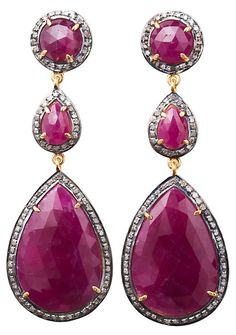 One Kings Lane - Affordable Luxury - Pink Sapphire Triple-Drop Earrings