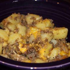 Hamburger Hash Recipe | Hamburger meat, diced potatoes, shredded cheese | Can add cream of mushroom and corn for an extra kick