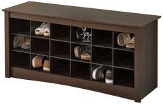 Amazon.com - Prepac Shoe Storage Cubbie Bench, Espresso