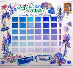 blue watercolor chart, so beautiful blue watercolor, blue garden, watercolor chart, color charts