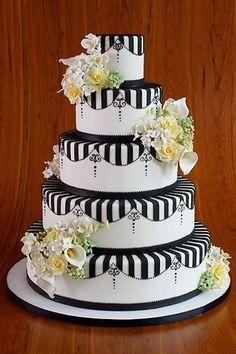 wedding planning ideas, cake wedding, wedding cake designs, black white, white weddings, white cakes, white wedding cakes, flower, stripe
