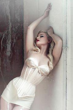 photo vintage white corset boned bodice pin up girdle satin corselette suspender waspie cincher lingerie underwear sexy glanour Photos Ideas, Post, Inspiration, Poses, White Lingerie Vintage, Pinup, Beauty, White Corset, Corsets Vintage