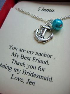 Anchor Bridesmaids Gift Necklace Free Personalized by buysomelove, $15.00