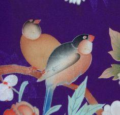 Antique Japanese Chirimen Kimono Vest, Finches/Peonies