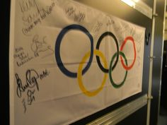 Outside the Fox Sports studios, guests have been signing this Olympic flag.