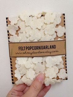 Felt Popcorn Garland on Etsy, $8.00 - for playroom christmas decor