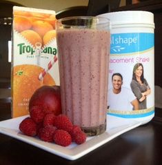 IdealShape Raspberry Peach Surprise Meal Replacement Smoothie Recipe - 1 Scoop Vanilla IdealShape Shake Mix - 8 oz. Orange Juice - 1/2 C. Raspberries  - 1 Peach - Ice Cubes   -   #IdealShape