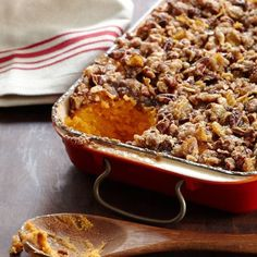 Sweet Potato Casserole | These silky pureed sweet potatoes are topped with a sweet and crunchy pecan-cornflake topping.