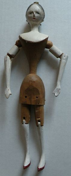 Wooden Grodner Tal Doll w/comb In Hair