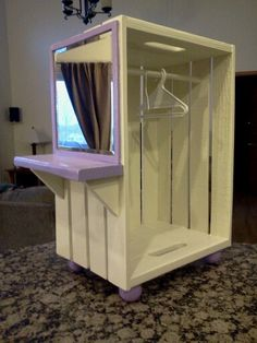 American girl closet with vanity.  Looks so easy to make!
