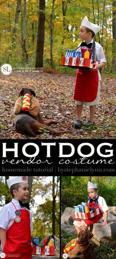 DIY Hot Dog Vendor Costume & Hot Dog Pet Costume | @michaelsstores Homemade Halloween #michaelsmakers
