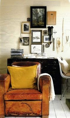 ... interior, vintage, frames, gallery walls, club chairs, armchairs, yellow, old chairs, leather chairs