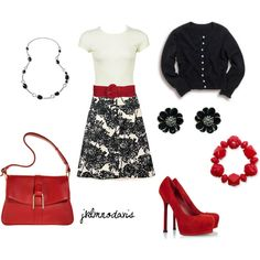 Black, White & Red, created by jklmnodavis.polyvore.com