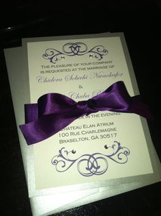 Purple and Silver Wedding Invitation Sample by BellaMEvents, $5.00