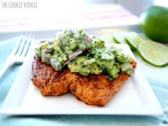 (Whole30) grilled salmon with avocado salsa - The Cookie Rookie