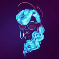Digital Portraits in Electric Colours . By Patrick Seymour. VIEW: http://illusion.scene360.com/art/66234/digital-portraits-in-electric-colours/   #illustration #digitalart #neon #color #colour #lineart #portrait