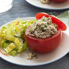 Tuna and Avocado-Stuffed Tomatoes | MyRecipes.com #myplate #veggies #protein