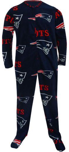 WebUndies.com New England Patriots Guys Navy Blue Onesie Footie Pajama