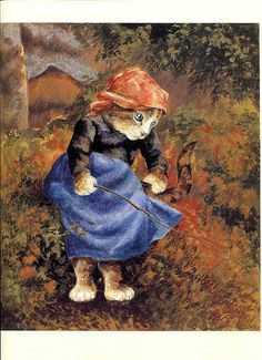 Susan Herbert: Jeune fille avec un bâton (inspiré de Camille Pissaro, peintre impressionniste).
