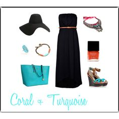 Coral + Turquoise, created by kim-martin-bannerman on Polyvore    Turquoise ring at http://www.silvertribe.com/Turquoise-Ring