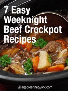 7 Easy Weeknight Beef Crockpot Recipes / #beef #recipes #crockpot / http://villagegreennetwork.com/7-easy-weeknight-beef-crockpot-recipes/