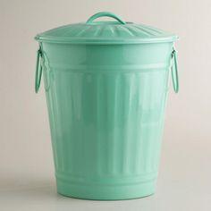 Mint Retro Galvanized Trash Can at Cost Plus World Market >> #WorldMarket Laundry Organization Tips