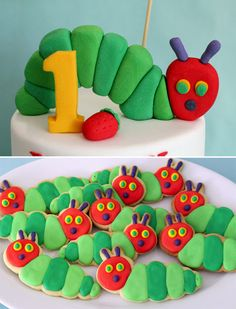 The very hungry caterpillar cake and cookies    http://butterheartssugar.blogspot.com.au/2012/11/very-hungry-caterpillar-cake-and-cookies.html