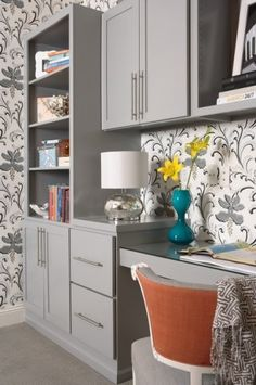 grey and coral office.