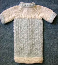Knitted Extra Small Preemie Gown by Lenore English