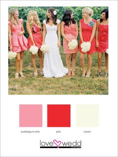 light pink, dark pink, and white #color palette #wedding