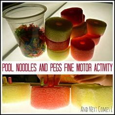 Pool Noodles and Pegs Fine Motor Activity from And Next Comes L