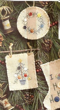 I know its early for Christmas stuff,but if I didn't pin this now,I would never find it again!! I love the way she used twigs to hang the Xstitched ornaments from. This has the patterns all all too!!