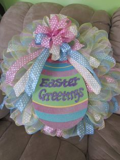 Easter Spring Mesh Wreath by TowerDoorDecor, $45.00  Pretty Pink, Blue and Yellow Polka dots!