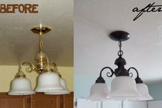 Reminder to self: Do this with the kitchen light, and maybe fan!   Running With Scissors: Lighting Makeover On a Budget
