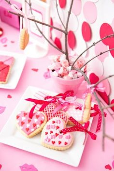 Heart ornament cookies! Tweet Heart Valentine's Day Party with Such Darling Ideas via Kara's Party Ideas | KarasPartyIdeas.com #ValentinesDayParty #PartyIdeas #Supplies