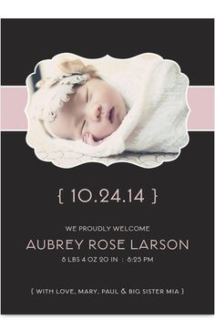 Ribbon Frame Girl Photo Birth Announcement