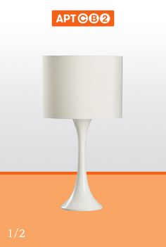 This white lacquered tulip lamp is both modern and classic at the same time. Like your favourite desk lamp out of these two to see it in #APTCB2 at www.cb2.com/APTCB2  #workswithCB2
