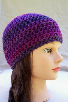 ladies cap womens crochet hat beanie crocheted hats for women multi purples $20.00