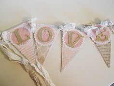 """Valentines  """"LOVE"""" Shabby Chic Banner or Wedding Decoration - in Blush Pinks, Greys and Creams. $20.00, via Etsy."""