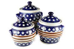 Blue Rose Polish Pottery: Stars & Stripes Canister Set