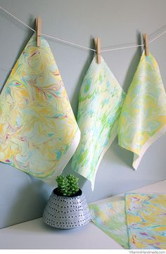 DIY Marbled Paper + Fabric