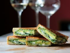 pesto-avocado-spinach grilled cheese sandwich.