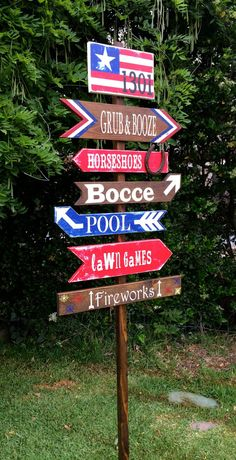 4th of July Decoration, Patriotic Directional Party Signs, Yard Stake, Wedding Signs on Etsy, $25.00  #4thofJuly #Patriotic