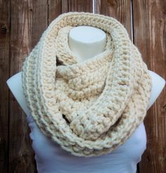 Chunky Creme Infinity Scarf Unisex Crochet Infinity by AurellaBlue, $48.00
